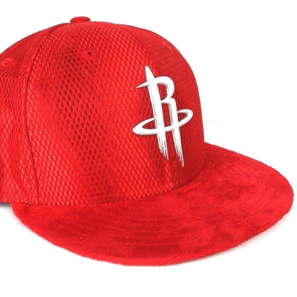 new product 0f1e4 6f1bd NEW ERA Houston Rockets Red Suade SZ 7 1/2 Lid NBA NWT